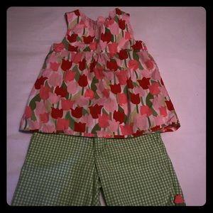 Gymboree tulip top and gingham shorts set